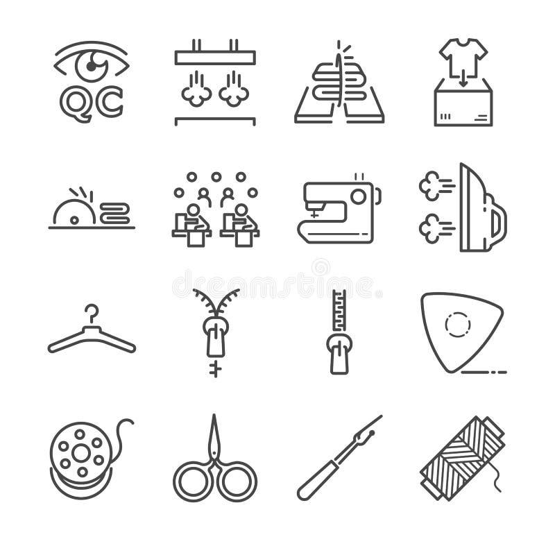 Krawiecki wektor linii ikony set Zawrzeć ikony jako igła, szy, tkanina, igła i więcej, ilustracja wektor