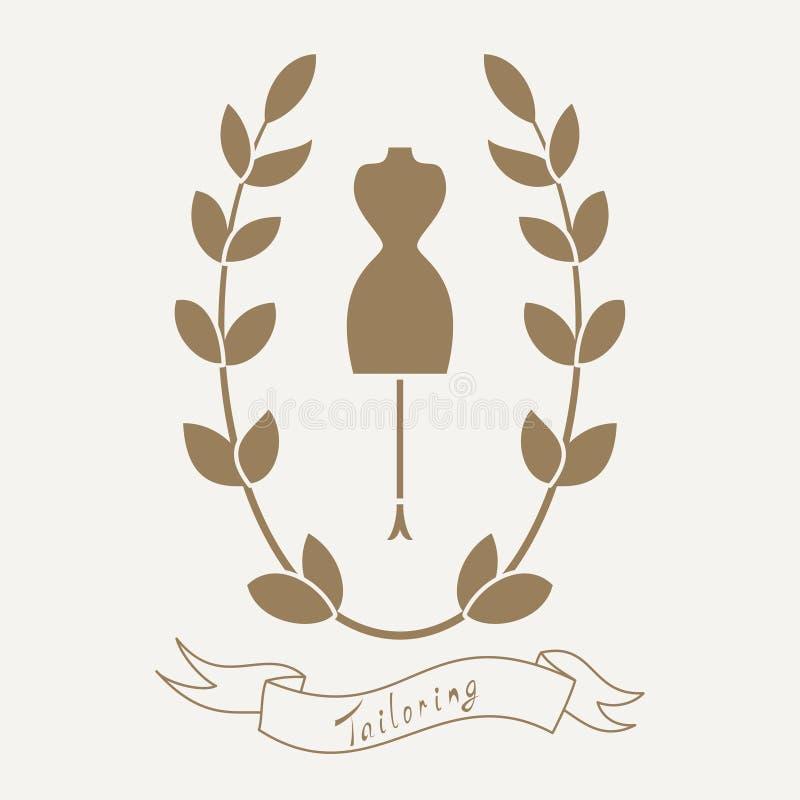 Krawiectwo emblemat z mannequin lub atrapą ilustracja wektor