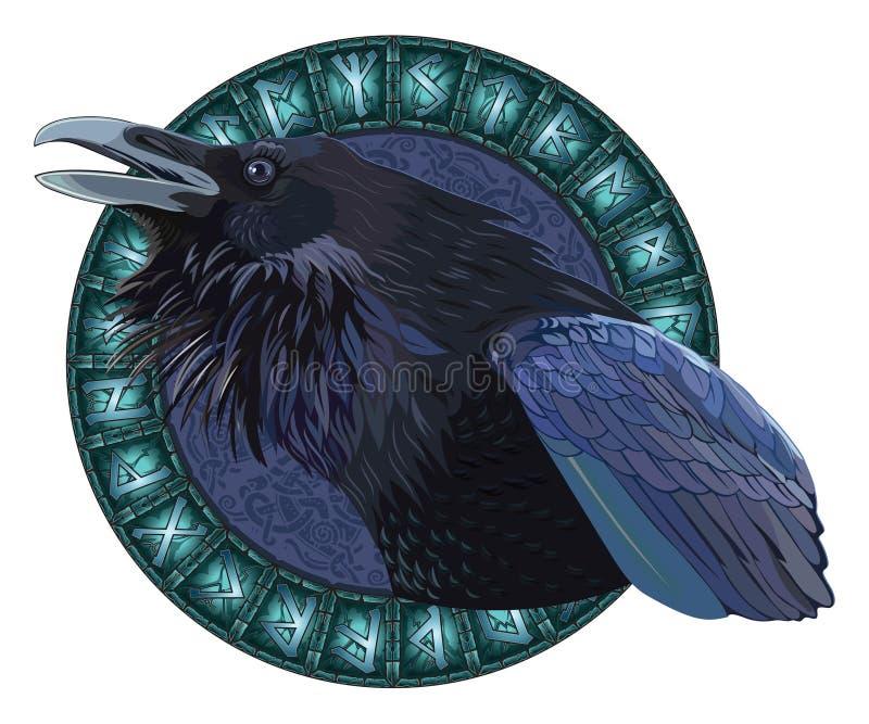 Kraxa svartgalanden, i en cirkel av glänsande skandinaviska runor, sned in i stenen vektor illustrationer
