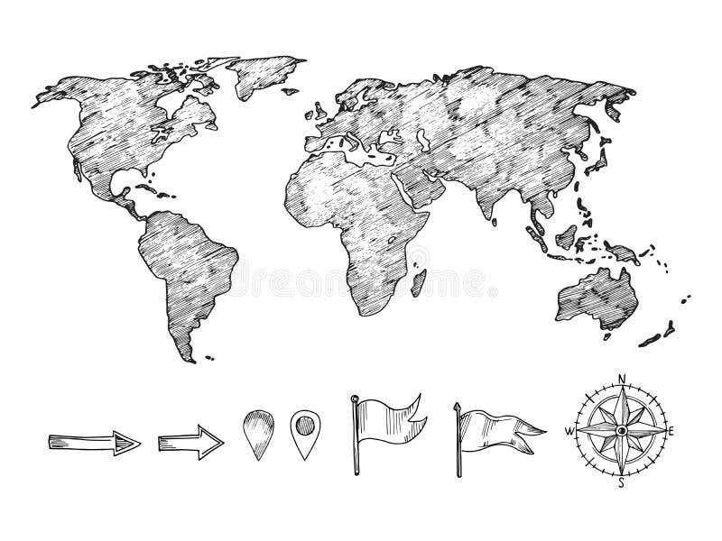 Kreśląca stylowa światowej mapy i nawigacji elementów wektoru ilustracja ilustracji