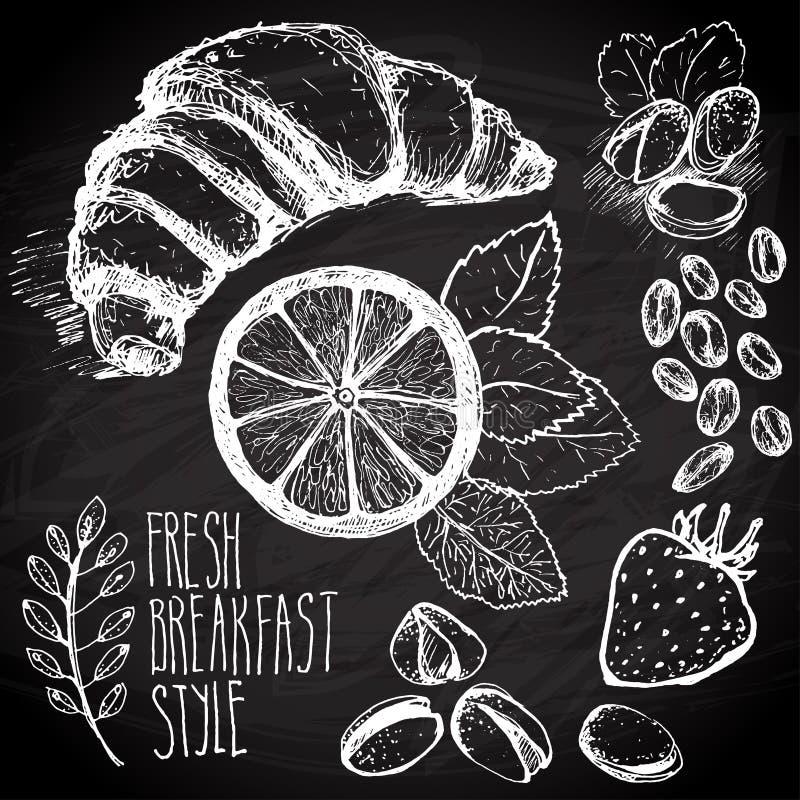 Kreślący śniadaniowy bezszwowy tło z croissant, cytryną i jagodami, Drawned na czerni desce z kredą ilustracja wektor
