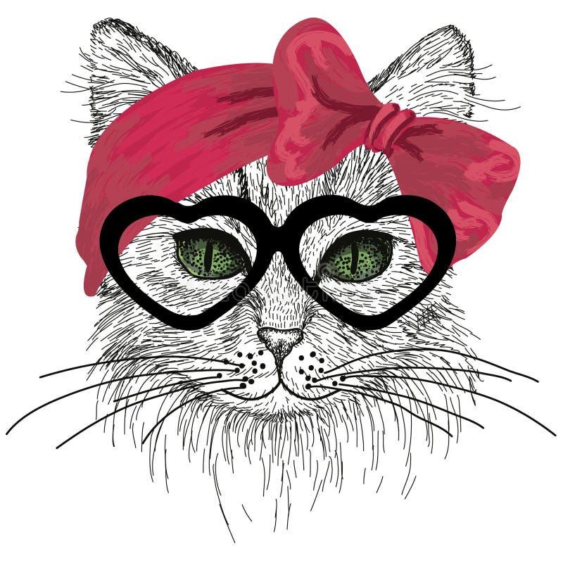 Kreślący kot z zielonymi oczami, szkłami i włosianym łękiem, royalty ilustracja