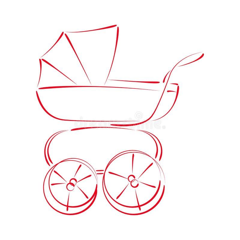 Kreślący wózka spacerowego powozik ilustracji
