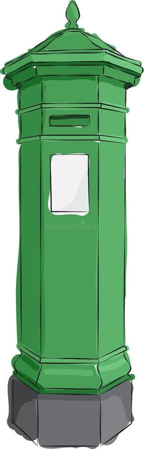 Kreślący Zielony Postbox royalty ilustracja