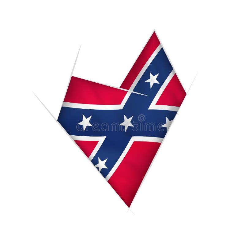 Kreślę zaginał serce z Konfederacyjną flagą royalty ilustracja