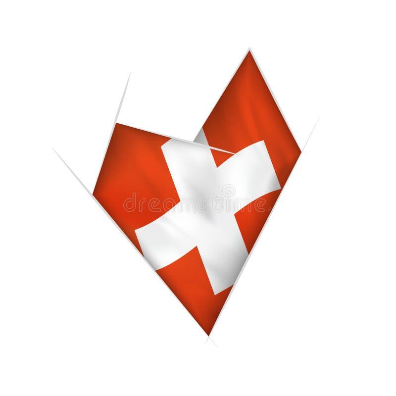 Kreślę zaginał serce z Szwajcaria flagą royalty ilustracja