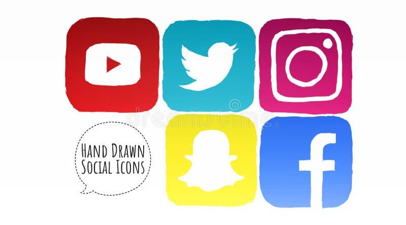 Kreślić Ogólnospołeczne Medialne ikony z gradientem royalty ilustracja