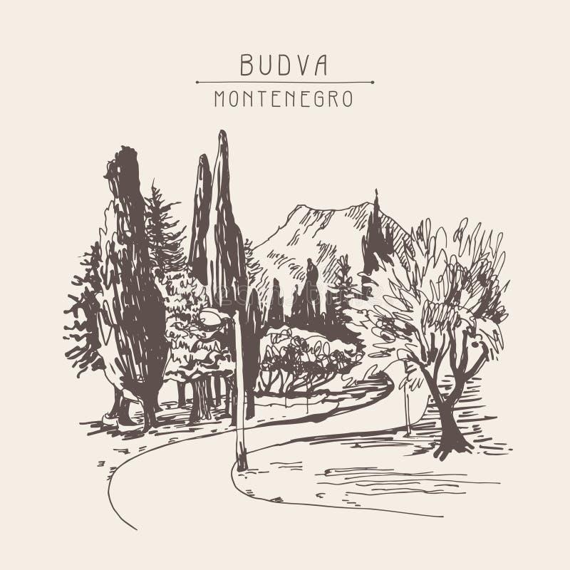 Kreślić parkowy aleja widok z drzewami cyprys i góra wewnątrz ilustracji