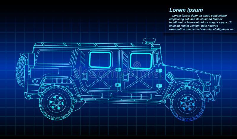 Kreślić pojazdu wojskowego kontur ilustracja wektor