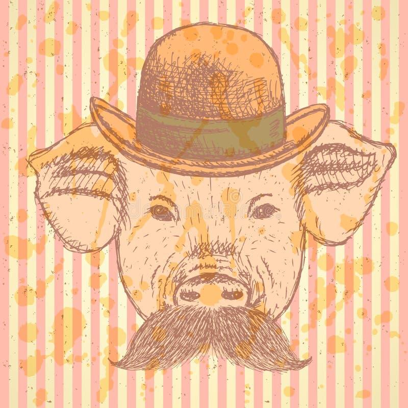 Kreśli świni w kapeluszu z mustche, wektorowy ackground royalty ilustracja