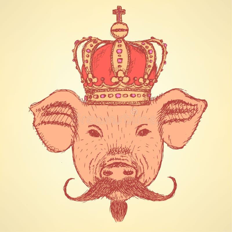 Kreśli świni w koronie z wąsy, wektorowy tło ilustracja wektor
