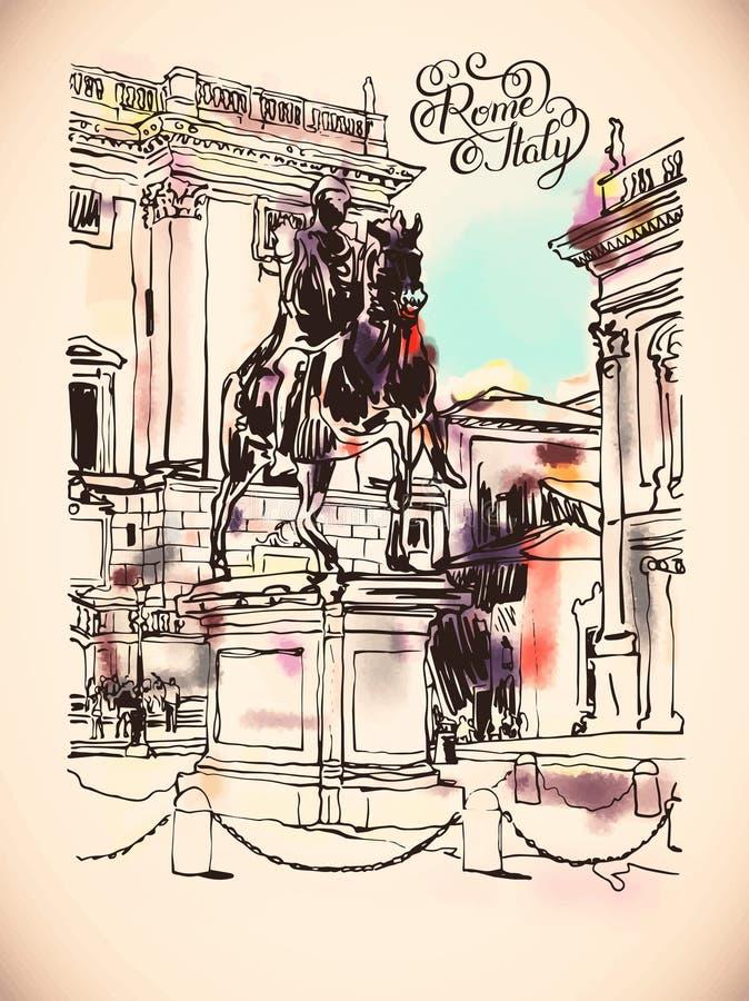 Kreśli cyfrowego rysunek Rzym Włochy pejzaż miejski z rzeźby eq ilustracja wektor