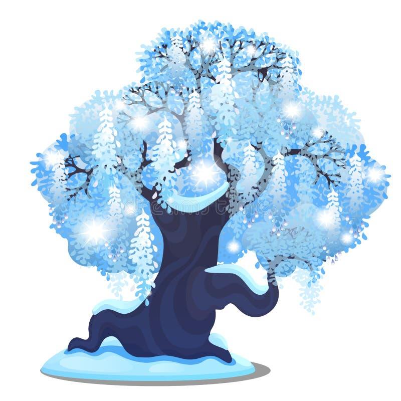 Kreśli dla Bożenarodzeniowego plakata z pięknym drzewem z rozprzestrzeniać płaczącą koronę odizolowywającą na bielu Szablon dla p royalty ilustracja