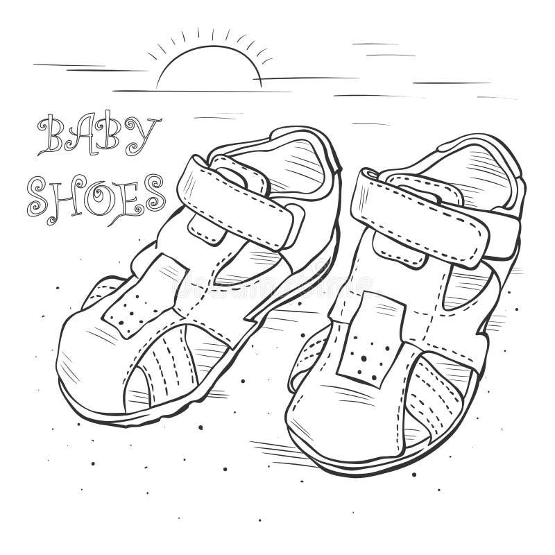 Kreśli dziecka ` s sandały dla chłopiec ilustracja wektor