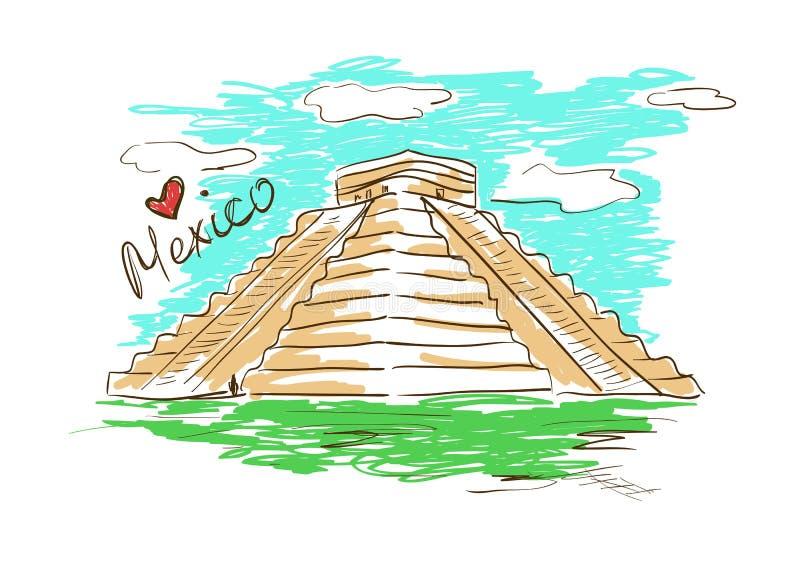 Kreśli ilustrację Chichen Itza Majski ostrosłup w Meksyk royalty ilustracja