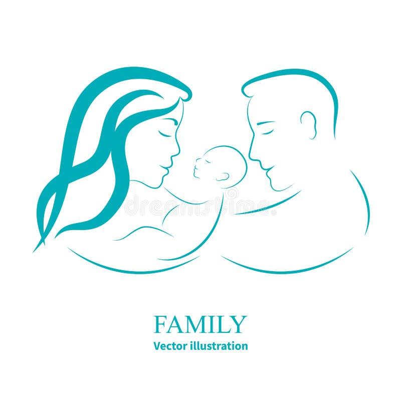 Kreśli mamy i tata trzyma małego dziecka ilustracja wektor