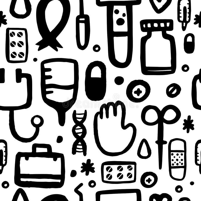 Kreśli medycznej pomocy bezszwowego wzór z czarnymi medycyn ikonami Wektorowy grunge projekt Apteki doodle tapeta royalty ilustracja