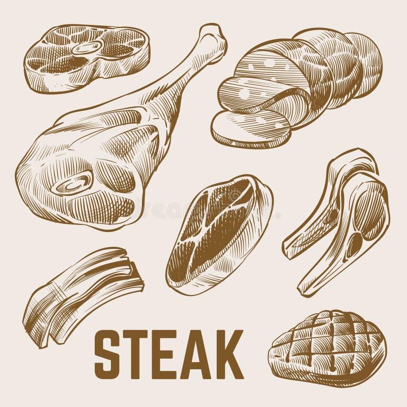 Kreśli mięso, ręka rysujący stku wektoru set royalty ilustracja