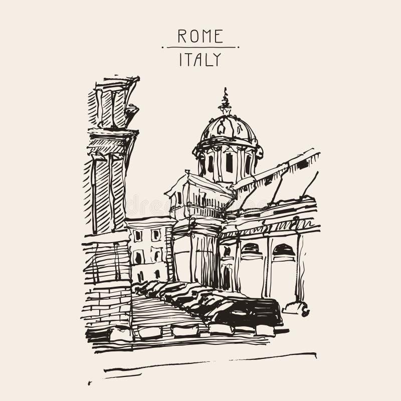 Kreśli ręka rysunek Rzym Włochy sławny pejzaż miejski, podróży karta ilustracja wektor