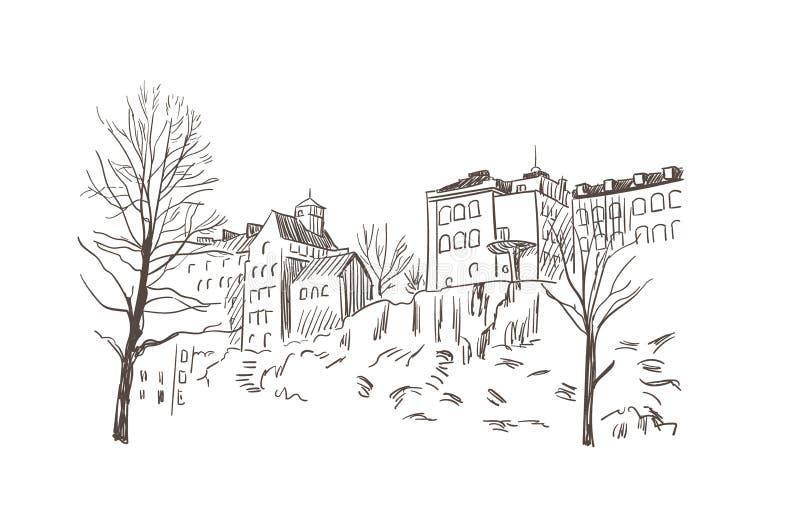 Kreśli wektorowych ilustracyjnych europejskich widoku Stockholm budynki na skale royalty ilustracja