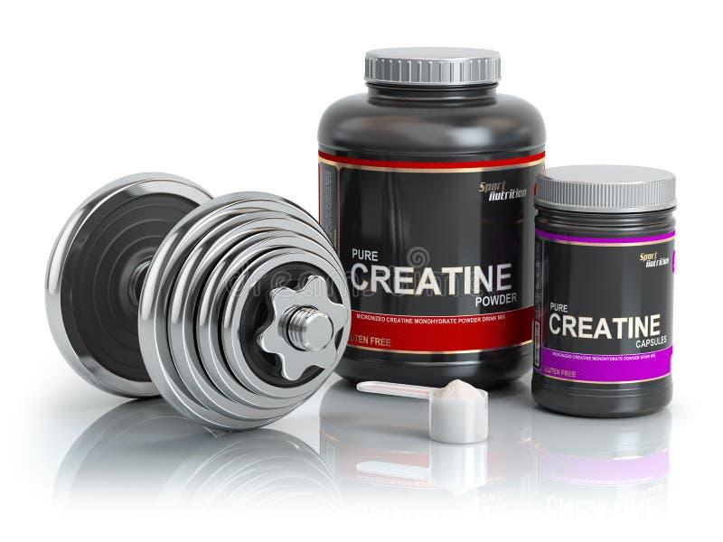Kreatinpulver mit Schaufel und Dummkopf Bodybuilder nutritionsu vektor abbildung