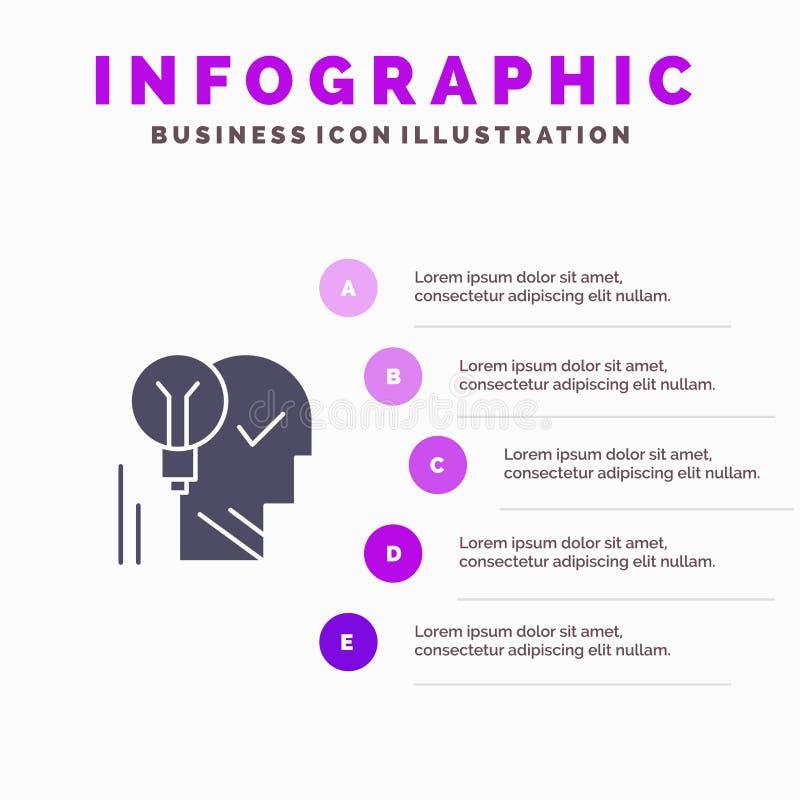 Kreativ, Gehirn, Idee, Glühlampe, Verstand, persönlich, Energie, Schritt-Darstellungs-Hintergrund Erfolgs-fester Ikone Infographi lizenzfreie abbildung