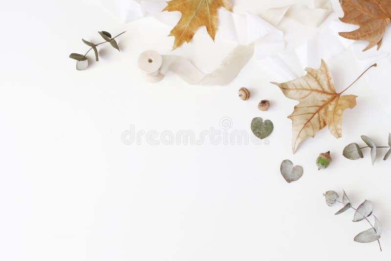 Kreative angeredete Zusammensetzung des Falles Herbstblumengesteck mit trockenem Eukalyptus, Ahornblättern und Seidenband auf Wei stockfotografie