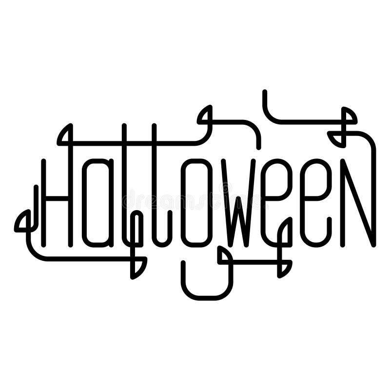 Kreative Beschriftung des Vektors für Halloween-Partei Linie Kunst vektor abbildung