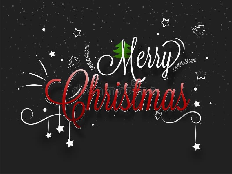 Kreative Beschriftung von frohen Weihnachten verziert mit Sternen auf Querstation stock abbildung