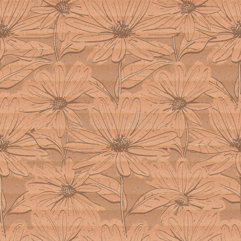 Kreative Blumentapete, nahtloses Muster des Kamillenpappbraunhintergrundes stock abbildung