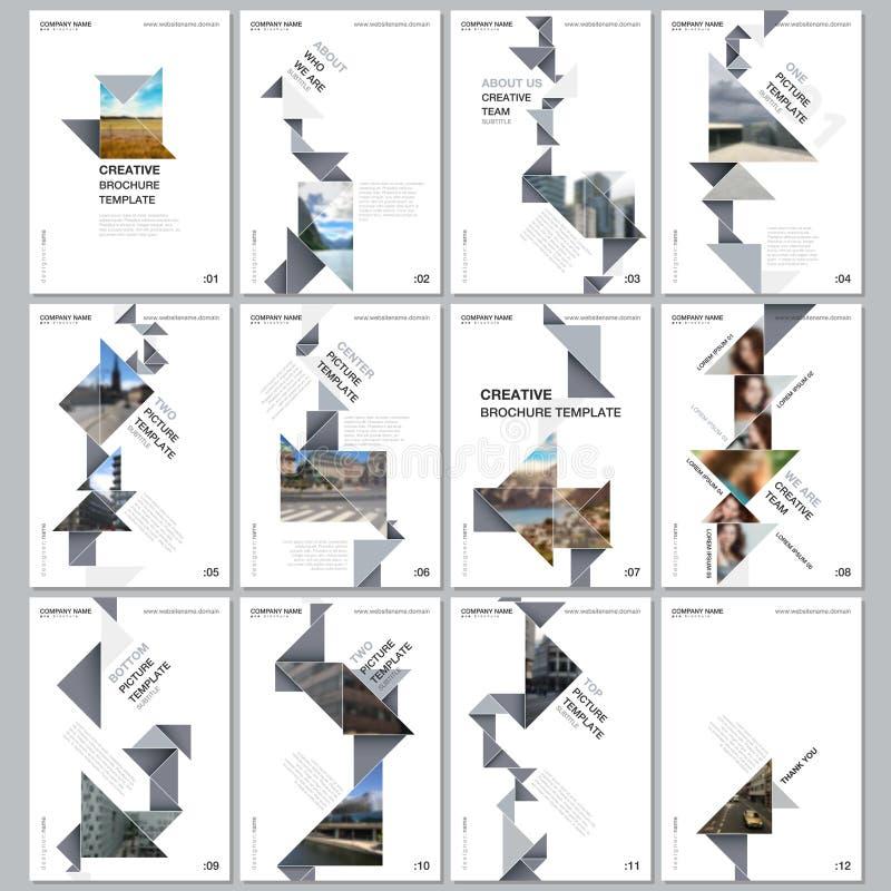 Kreative Broschürenschablonen mit buntem Dreieckorigami tapezieren Elemente auf schwarzem Hintergrund Abdeckungsdesignschablonen stock abbildung