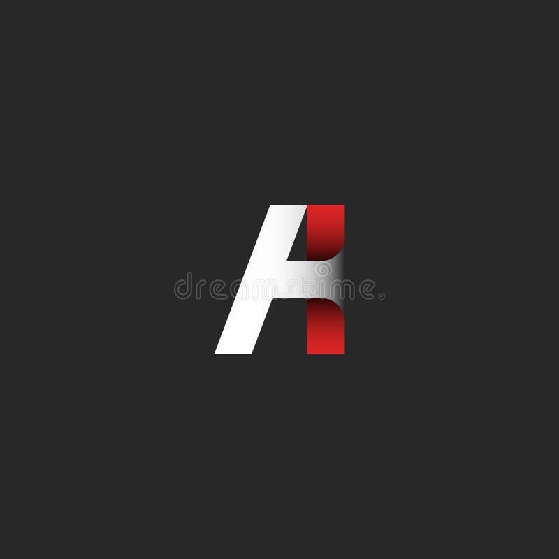 Kreative Buchstabe A Logosteigungsfarbmoderne Gestaltungselementschablone Band des roten und Weißbuches des materiellen Entwurfse stock abbildung