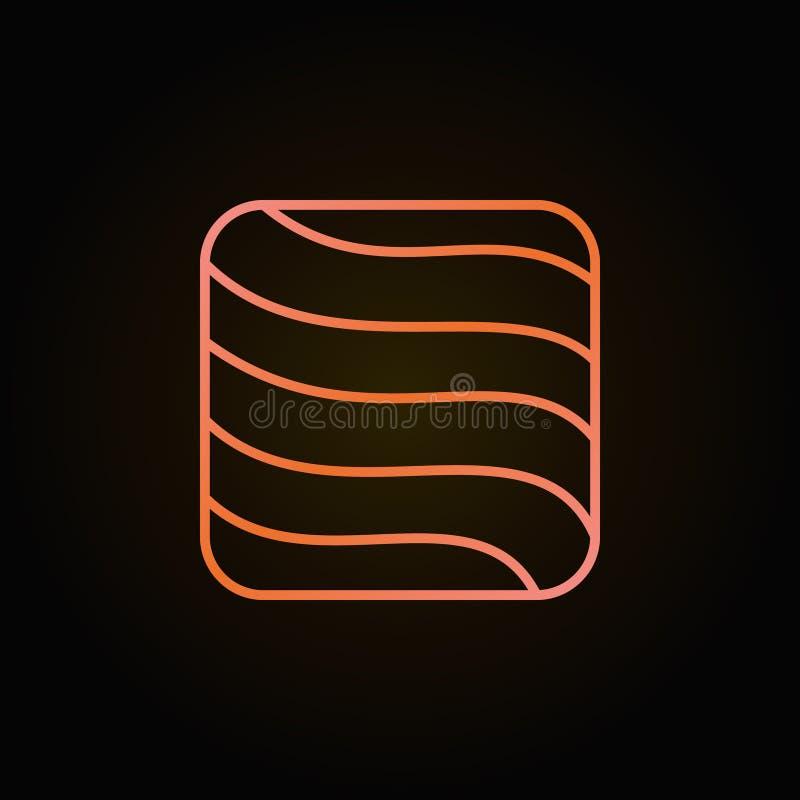 Kreative bunte Linie Ikone des Lachs- oder Forellensteakquadrats lizenzfreie abbildung