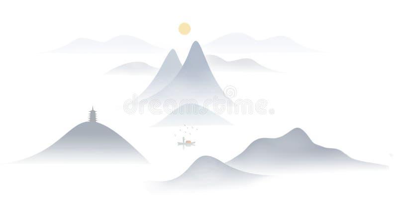 Kreative chinesische Tintenmalerei des Sonnenaufgangs stockbilder