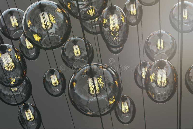 Kreative dekorative Lampen tapezieren stock abbildung