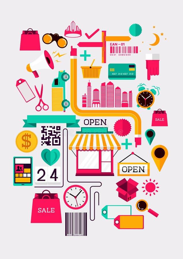 Kreative Einkaufselemente stock abbildung