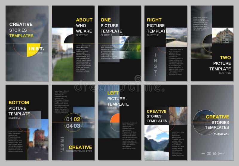 Kreative Geschichten der sozialen Netzwerke entwerfen, vertikale Fahne oder Fliegerschablonen mit bunten grauen Steigungshintergr vektor abbildung