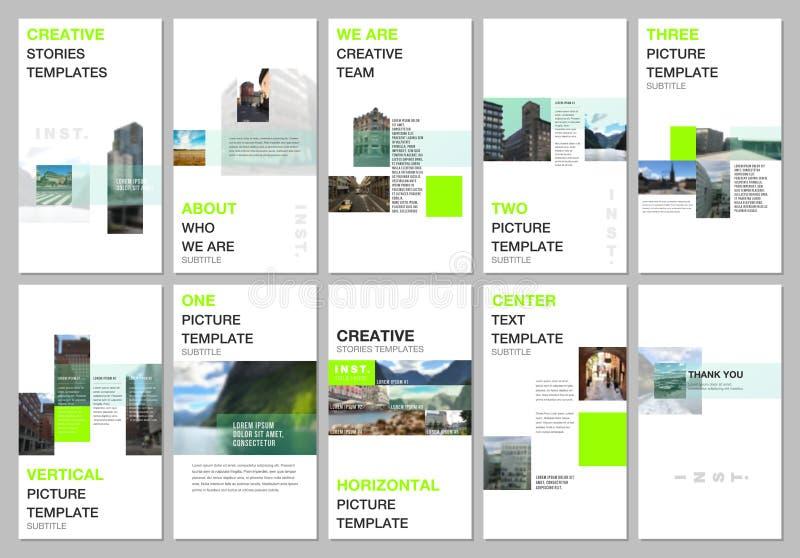 Kreative Geschichten der sozialen Netzwerke entwerfen, vertikale Fahne oder Fliegerschablonen mit dem bunten geometrischen Steigu stock abbildung