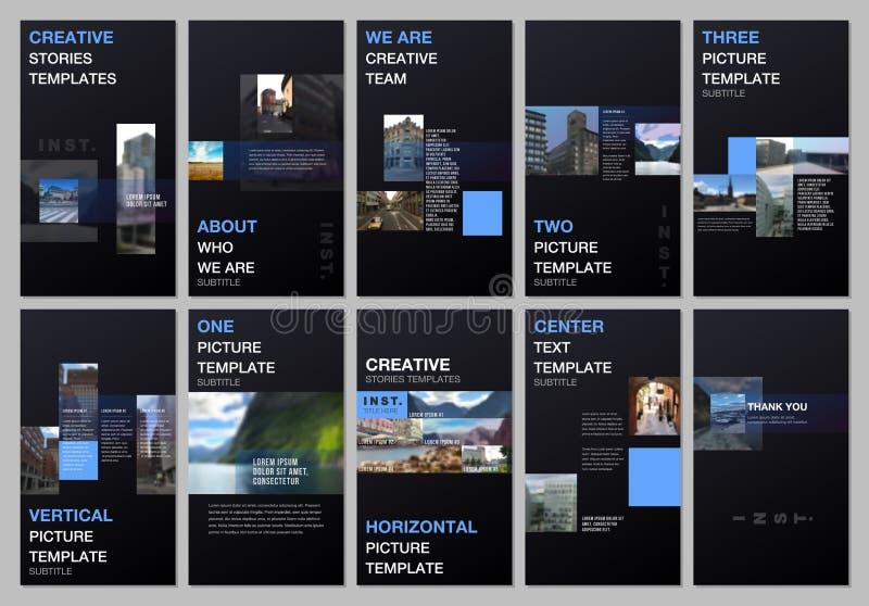 Kreative Geschichten der sozialen Netzwerke entwerfen, vertikale Fahne oder Fliegerschablonen mit dem bunten geometrischen Steigu vektor abbildung