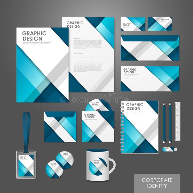 Kreative gesetzte Schablone der Unternehmensidentitä5 im Blau stock abbildung
