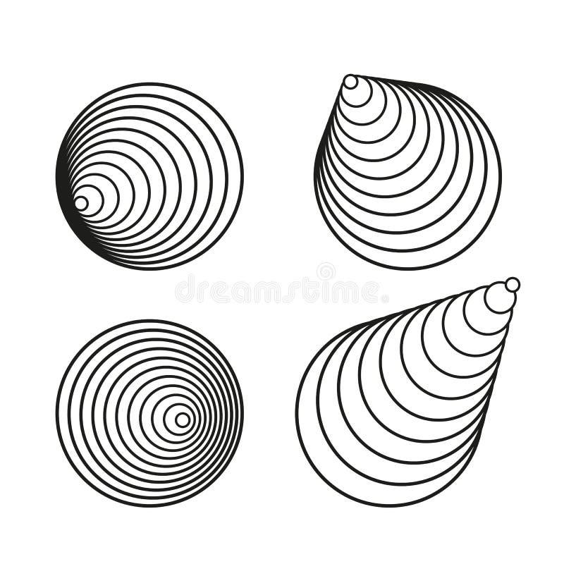Kreative Gestaltungselementsammlung der schwarzen Vektorkreisspirale lizenzfreie abbildung