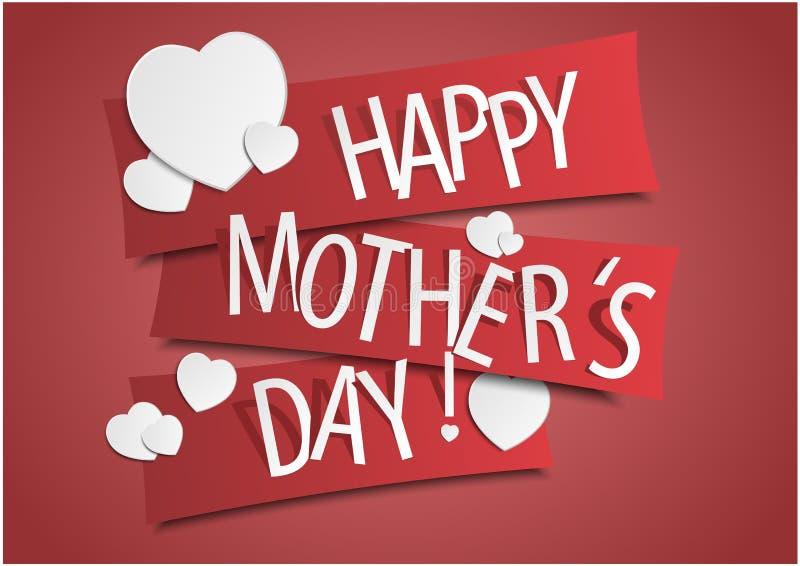 Kreative glückliche Mutter ` s Tageskarte mit Herzen auf Band Auch im corel abgehobenen Betrag lizenzfreie stockbilder