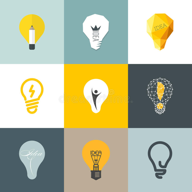 Kreative Glühlampe. Satz Gestaltungselemente lizenzfreie abbildung