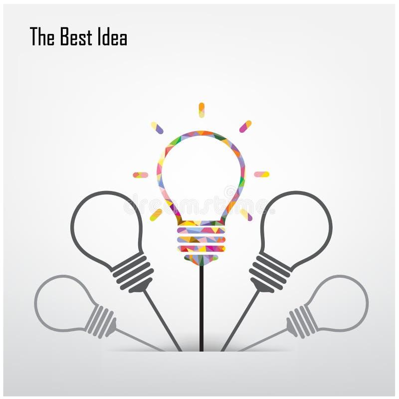 Kreative Glühlampe und das beste Ideenkonzept vektor abbildung