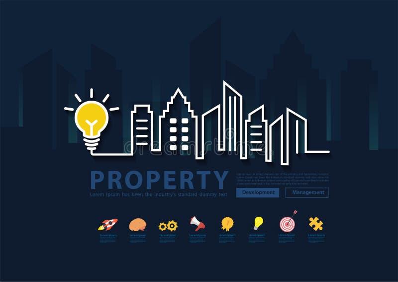 Kreative Glühlampeidee mit Stadtskylinelinie kreativer Entwurf der Kunst stock abbildung