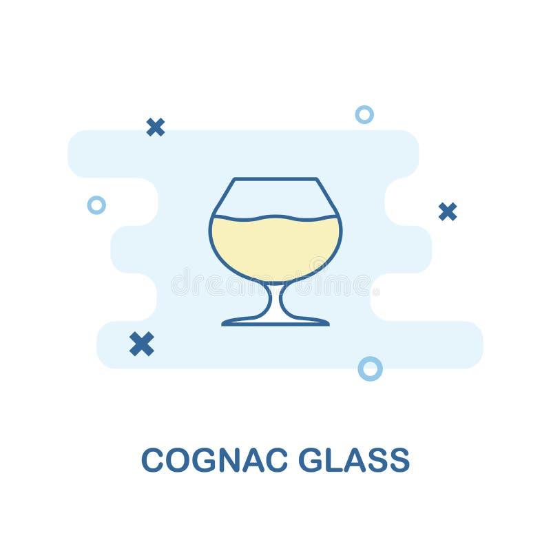 Kreative Glasikone des Kognaks in der Farbe Einfache Elementillustration Kognakglaskonzept-Symbolentwurf von Bar und Restaurant c lizenzfreie abbildung