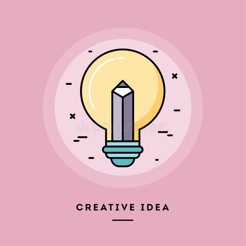 Kreative Idee, dünne Linie Fahne des flachen Designs Auch im corel abgehobenen Betrag lizenzfreie abbildung