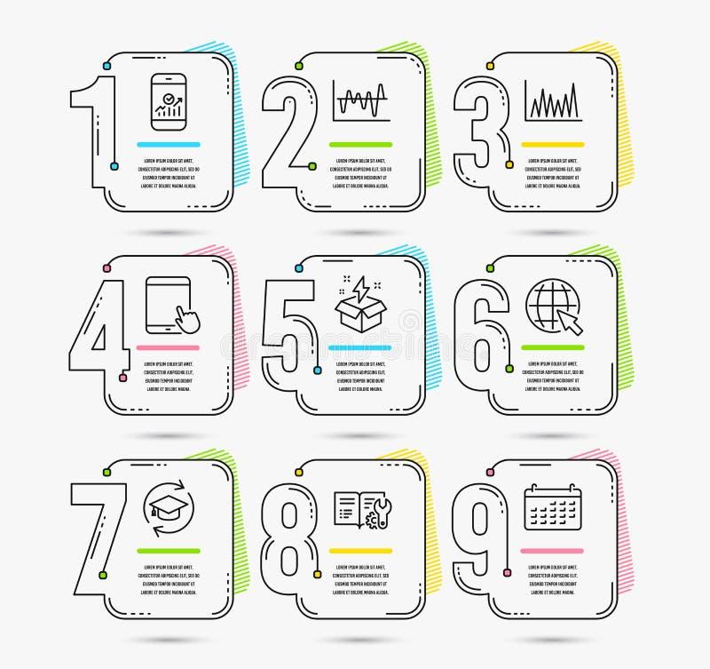 Kreative Idee, Ikonen der Linie Diagramm und des Internets Tablet-PC, Zeichen der Weiterbildung und der Aktienanalyse Vektor stock abbildung