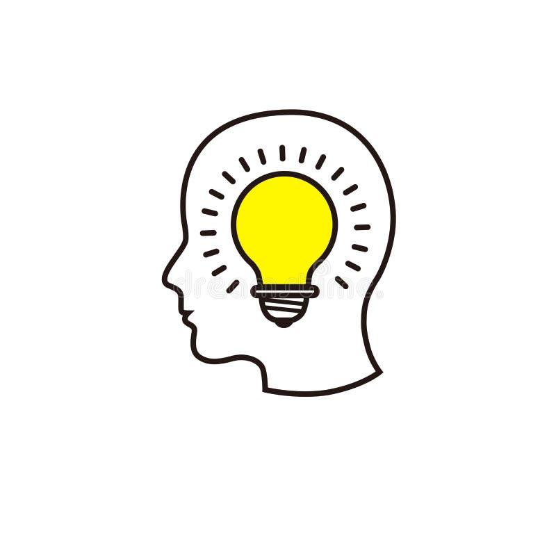 Kreative Ideenbildmenge mit menschlichem Kopf, Gehirn, Glühlampe stock abbildung