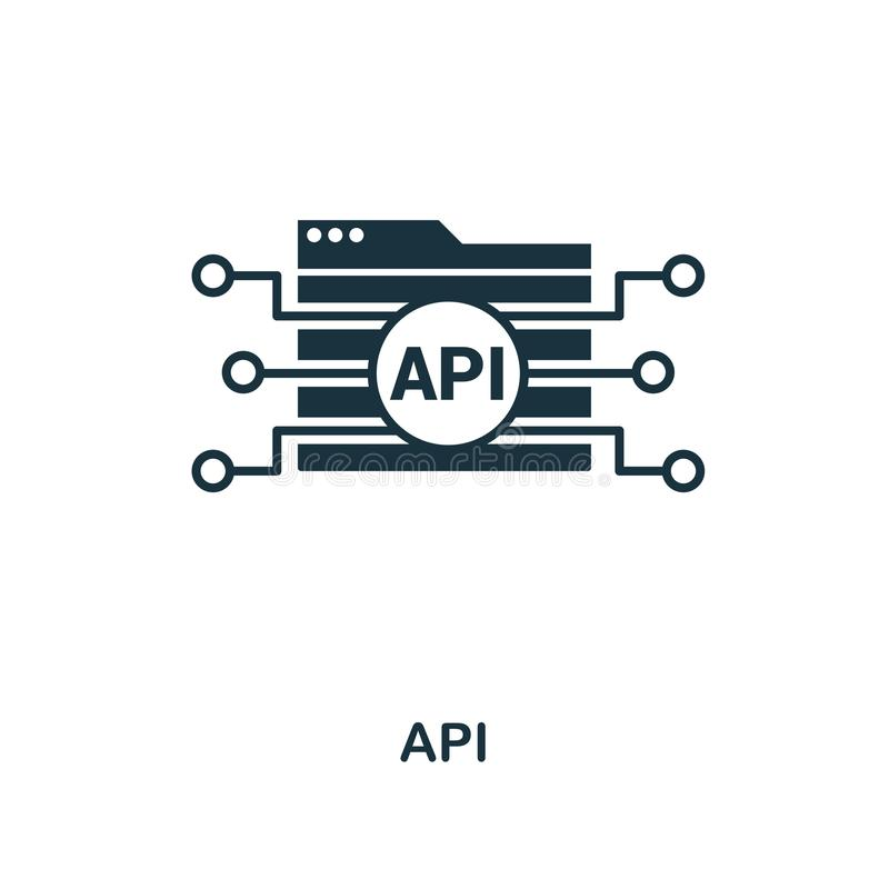 Kreative Ikone API Einfache Elementillustration API-Konzeptsymbolentwurf von der Web-Entwicklungs-Sammlung Vervollkommnen Sie für vektor abbildung